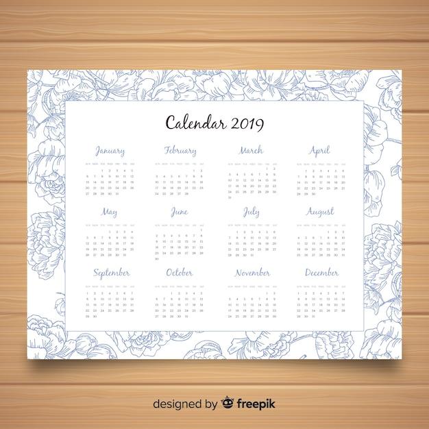 Beau modèle de calendrier 2019 avec style floral Vecteur gratuit
