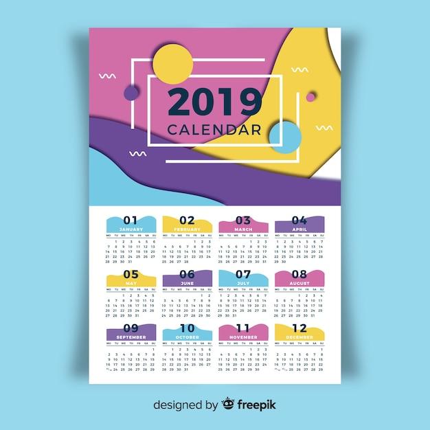 Beau modèle de calendrier 2019 Vecteur gratuit