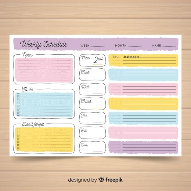Beau modèle de calendrier hebdomadaire avec style coloré Vecteur gratuit