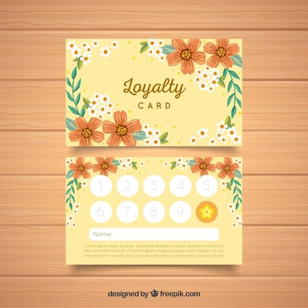 Beau modèle de carte de fidélité avec style floral Vecteur gratuit