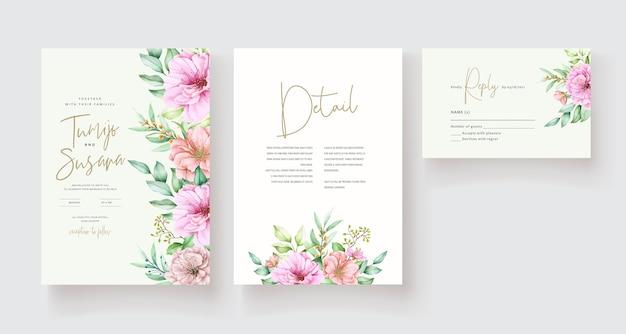 Beau Modèle De Carte D'invitation Floral Vecteur gratuit