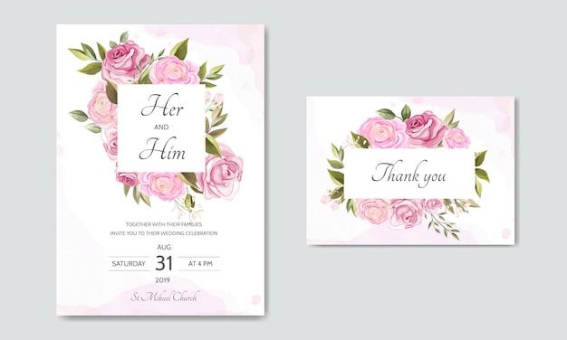 Beau modèle de carte d'invitation mariage couronne florale Vecteur Premium