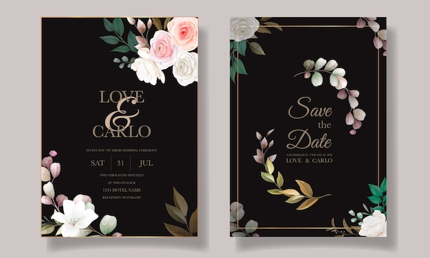 Beau Modèle De Carte D'invitation De Mariage Floral Vecteur gratuit