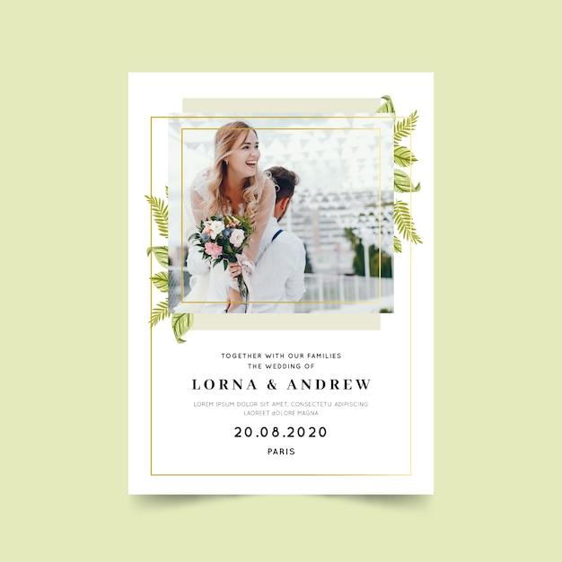 Beau modèle de carte de mariage avec photo Vecteur gratuit