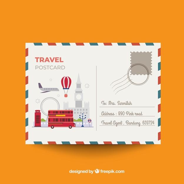 Beau modèle de carte postale de voyage Vecteur gratuit