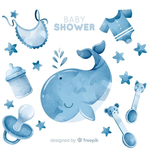 Beau modèle de douche de bébé aquarelle Vecteur gratuit