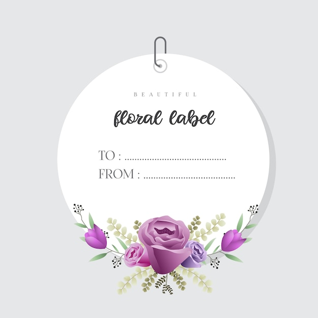 Beau modèle d'étiquette floral aquarelle Vecteur Premium