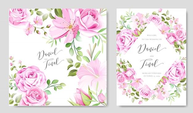 Beau modèle de fond cadre et mariage floral et feuilles Vecteur Premium
