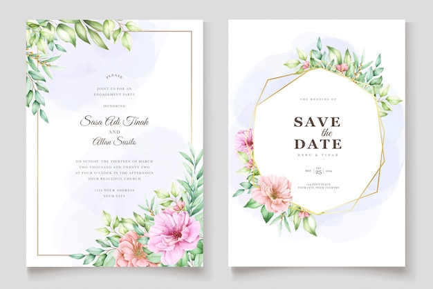 Beau Modèle D'invitation De Mariage Floral Aquarelle Vecteur gratuit