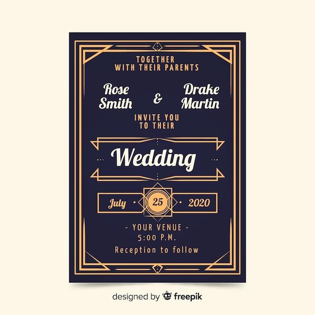 Beau modèle d'invitation de mariage vintage Vecteur gratuit