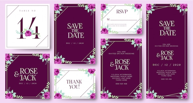 Beau modèle d'invitation de mariage Vecteur Premium