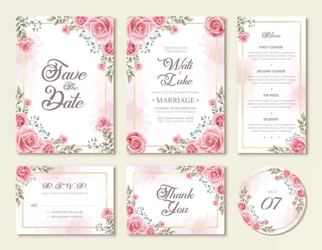 Beau modèle de jeu d'invitation de mariage floral rose fleurs floral Vecteur Premium