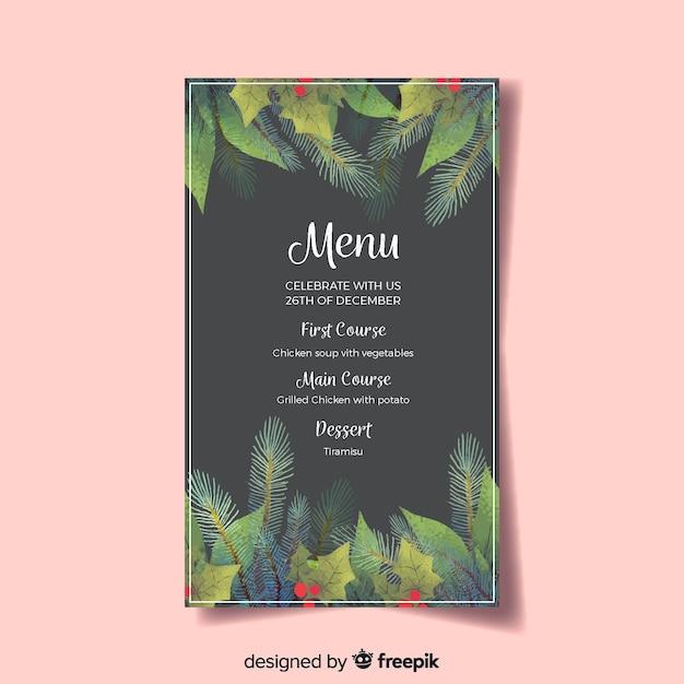 Beau modèle de menu de noël Vecteur gratuit