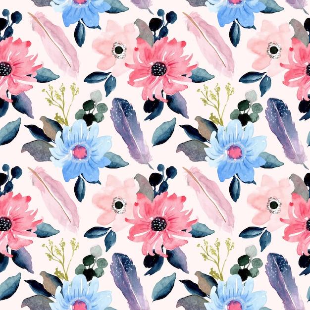 Beau modèle sans couture aquarelle floral et plume Vecteur Premium