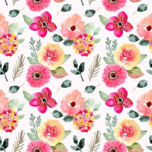 Beau modèle sans couture aquarelle floral rose Vecteur Premium