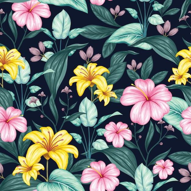 Beau modèle sans couture floral vintage Vecteur Premium