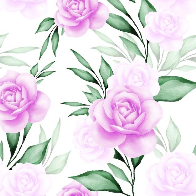 Beau modèle sans couture florale aquarelle Vecteur Premium