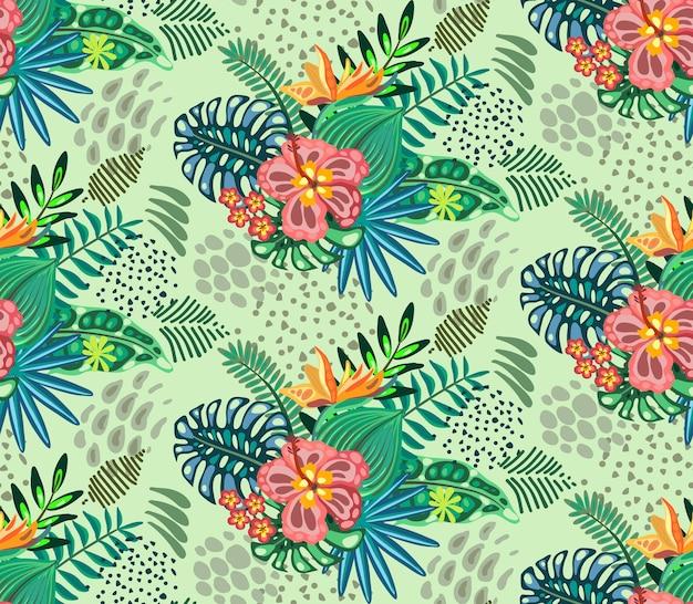 Beau Modèle Sans Couture Avec Palmier Jungle Ropical Laisse Des Fleurs Exotiques Vecteur Premium