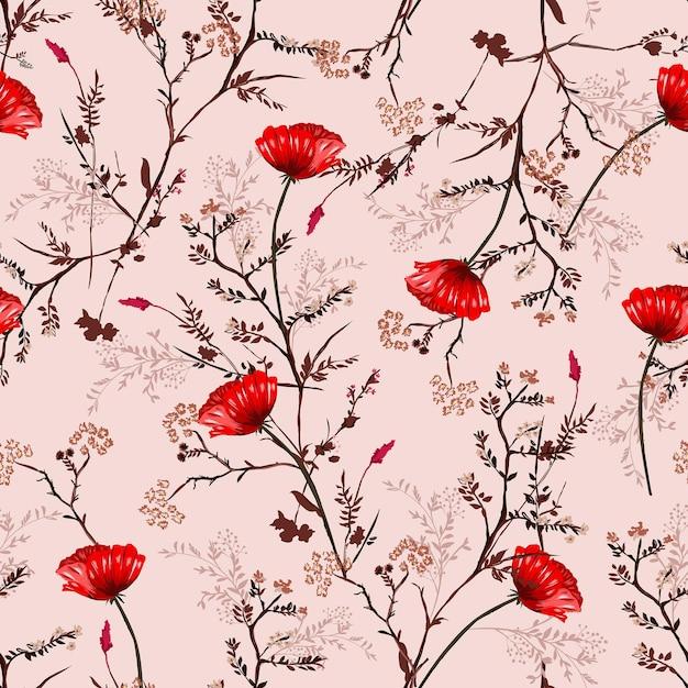Beau Modèle Sans Couture Vintage Dessinés à La Main Fleurs De Pavot En Fleurs Rouges Vecteur Premium