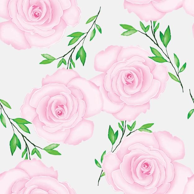 Beau motif floral avec aquarelle Vecteur Premium