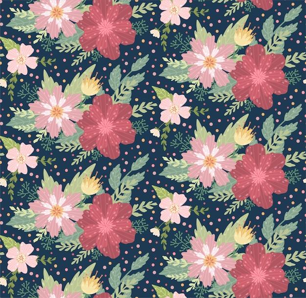 Beau motif floral avec une fleur. floral fond sans couture pour les impressions de mode. Vecteur Premium