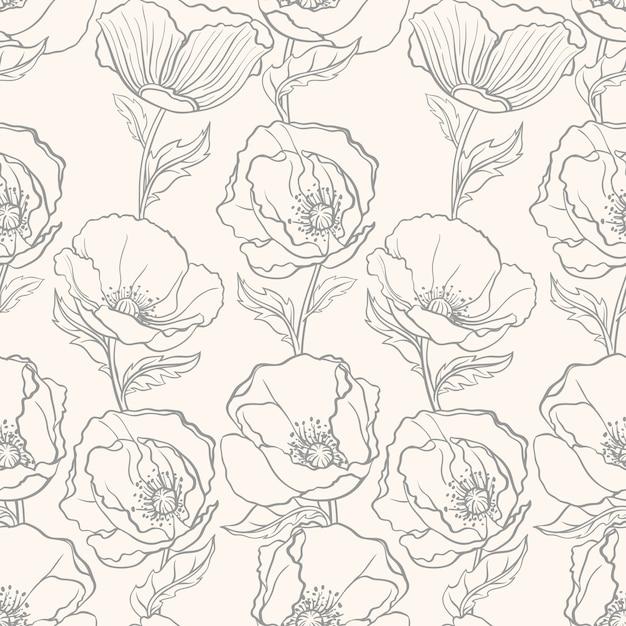 Beau Motif Floral Sans Couture Avec Des Coquelicots Sur Fond Beige Vecteur Premium