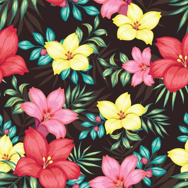 Beau Motif Floral Sans Couture Vintage Vecteur Premium