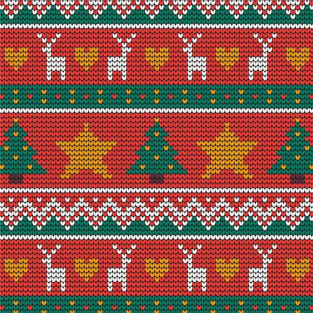 Beau motif de noël tricoté Vecteur gratuit