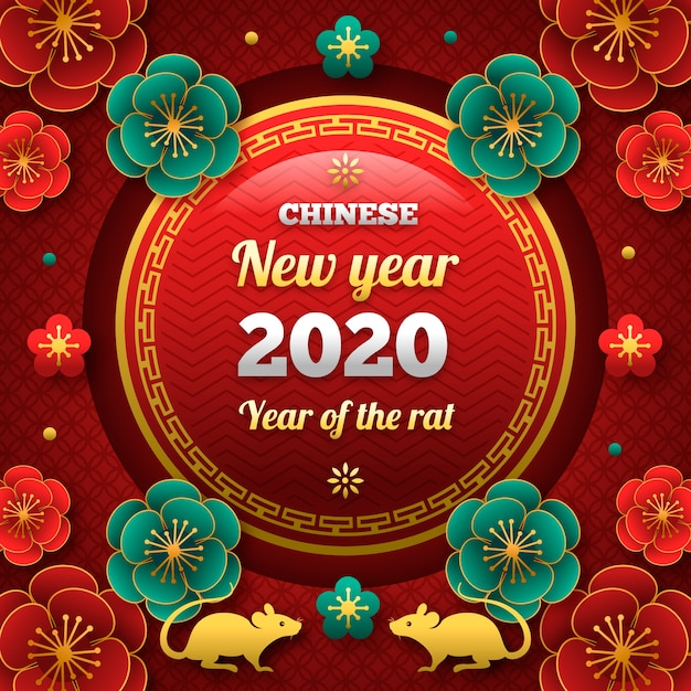 Beau nouvel an chinois en design plat Vecteur gratuit