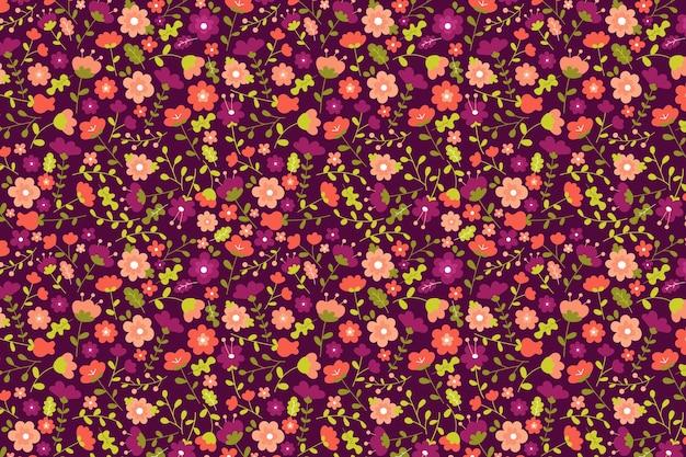 Beau Papier Peint Imprimé Floral Ditsy Vecteur gratuit