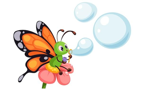 Beau papillon soufflant des bulles Vecteur Premium