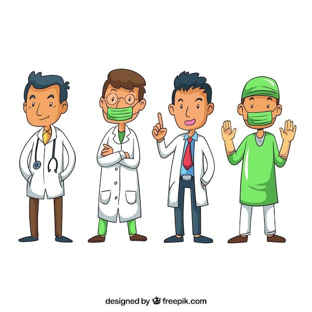 Beau Paquet De Médecins Professionnels Vecteur gratuit