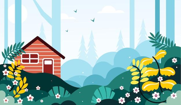 Beau paysage au bord de l'illustration de la forêt Vecteur Premium