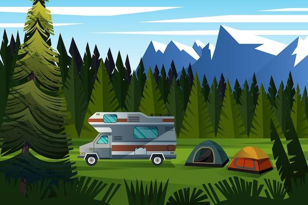 Beau Paysage De Camping Entre Les Montagnes Vecteur Premium