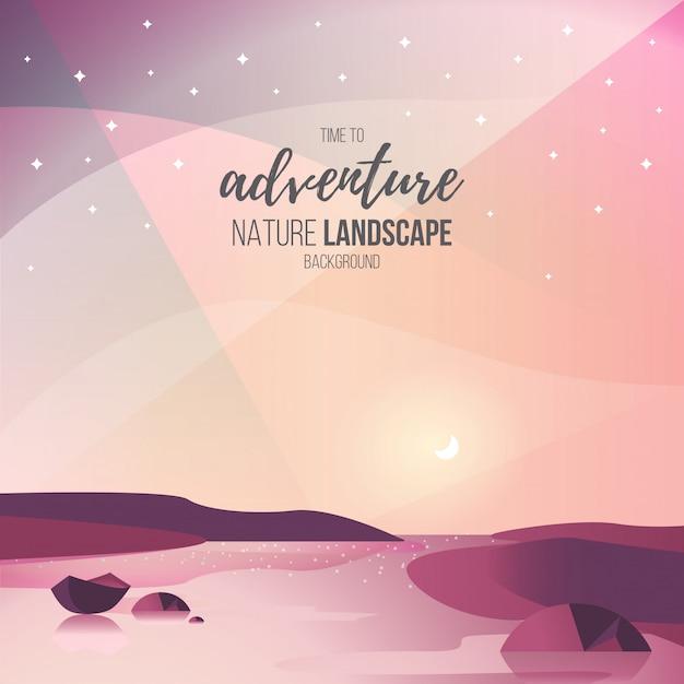 Beau paysage avec ciel coloré Vecteur gratuit