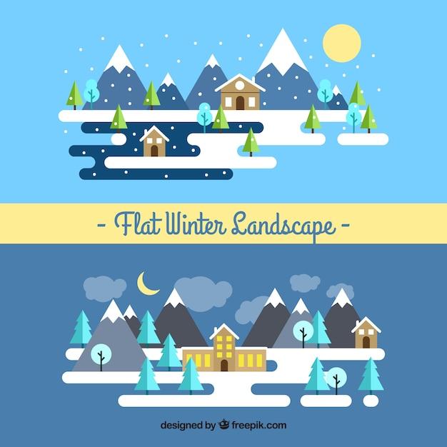 beau paysage d u0026 39 hiver en design plat