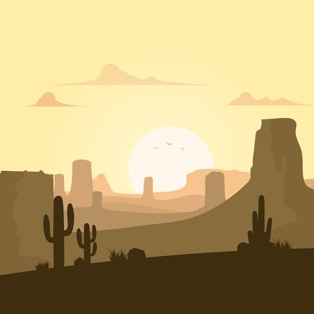 Beau paysage de désert Vecteur Premium