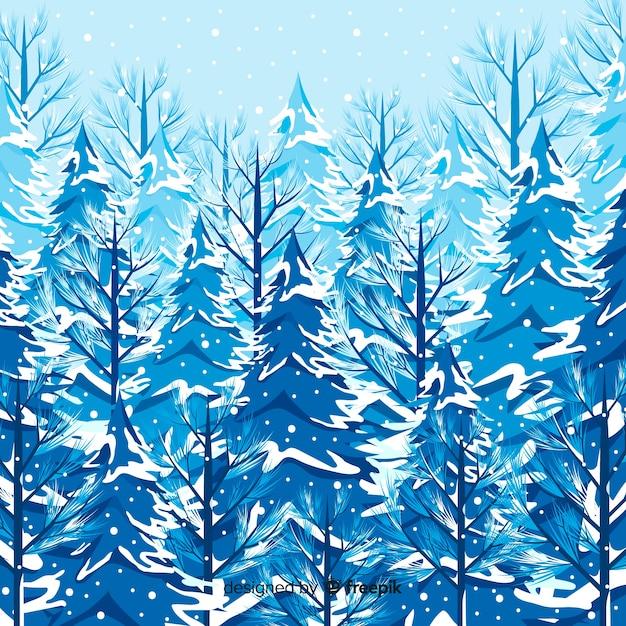 Beau paysage d'hiver avec des arbres enneigés Vecteur gratuit
