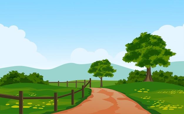 Beau Paysage Rural Avec Chemin Et Clôture Vecteur Premium