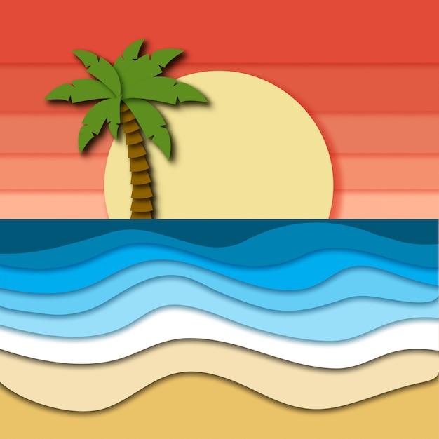 Beau paysage tropical avec ciel rose, coucher de soleil, arbre de plam sur horizon et mer Vecteur Premium