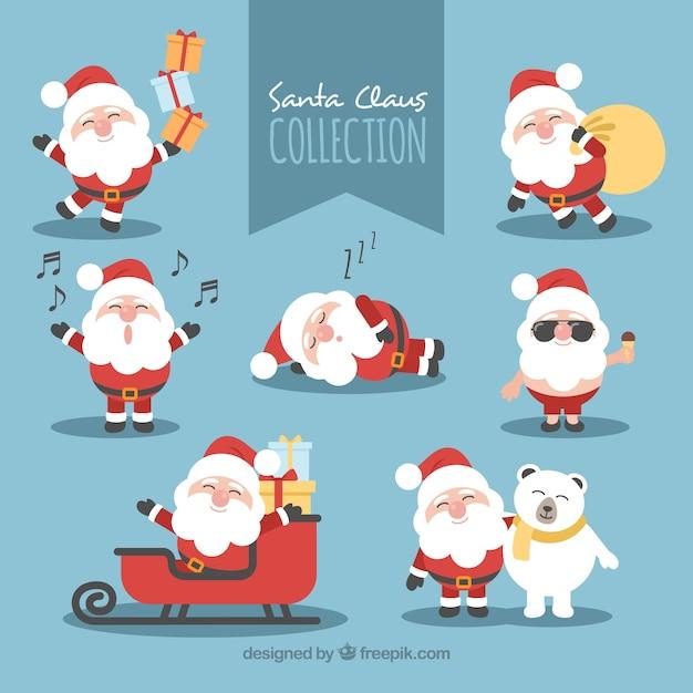 Beau Père Noël Dans Différentes Poses Vecteur Premium