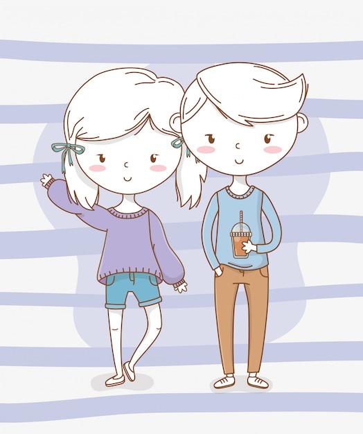 Beau petit couple d'enfants avec des couleurs patel Vecteur Premium