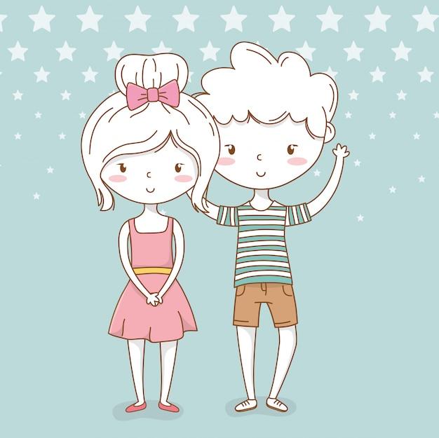 Beau petit couple d'enfants avec fond pointillé Vecteur Premium