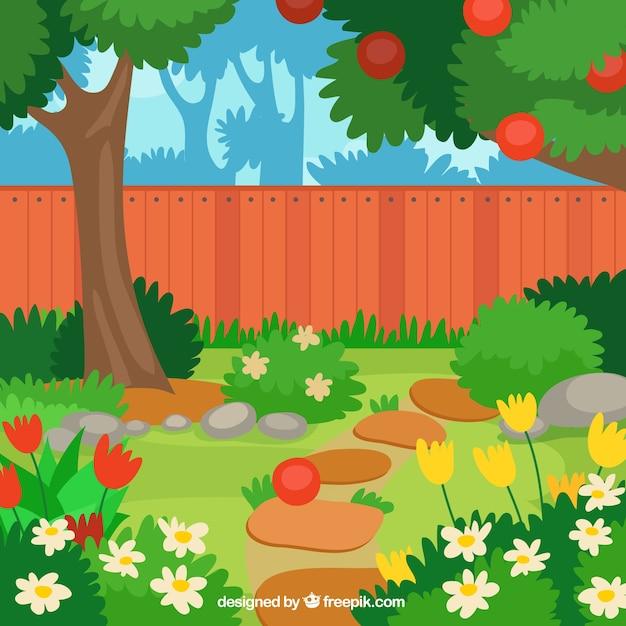 Beau pommier plat dans la conception de jardin Vecteur gratuit