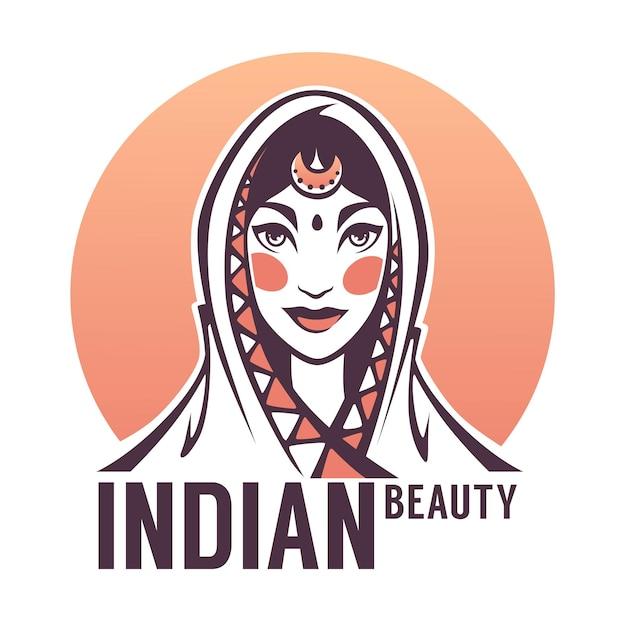Beau Portrait De Femme Indienne Pour Votre Logo, étiquette, Emblème Vecteur Premium