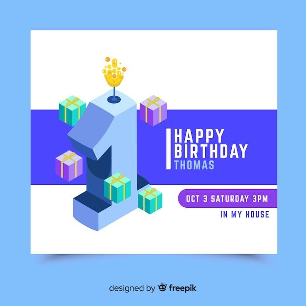 Beau premier modèle de carte d'invitation d'anniversaire Vecteur gratuit