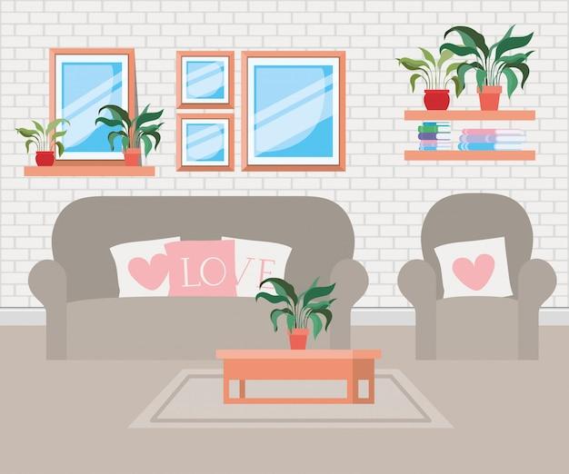 Beau salon scène de maison Vecteur gratuit