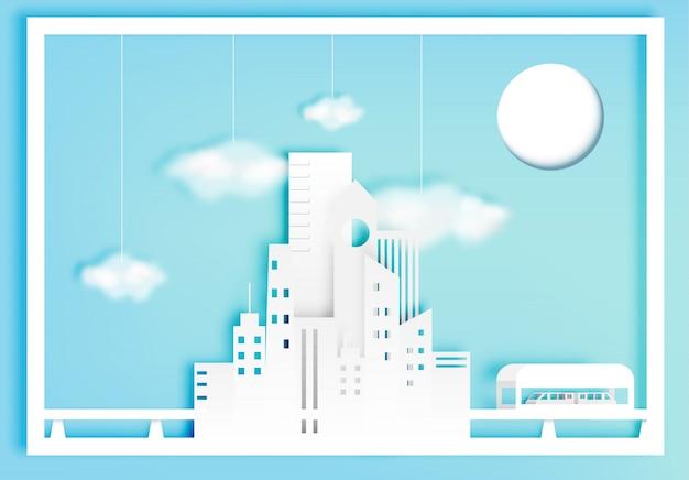 Beau style d'art de papier de paysage urbain avec illustration vectorielle de coton nuage Vecteur Premium