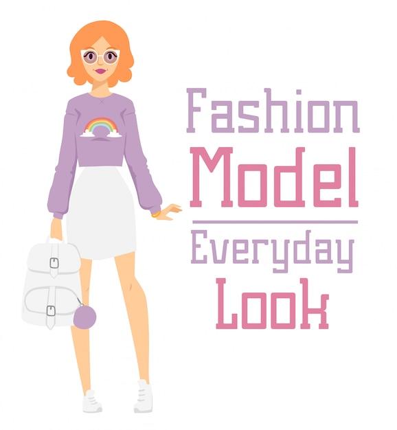 Beau vecteur caricature fashion girl modèle constructeur regarder debout Vecteur Premium