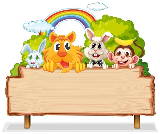Beaucoup D'animaux Sur Des Planches De Bois Vecteur Premium